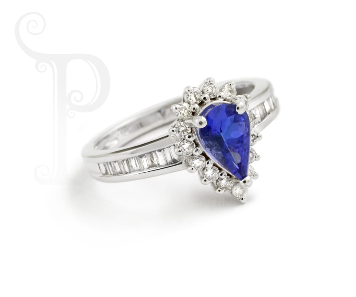 Tanzanite Pear Shape ,Baguette and Round Diamond Ring