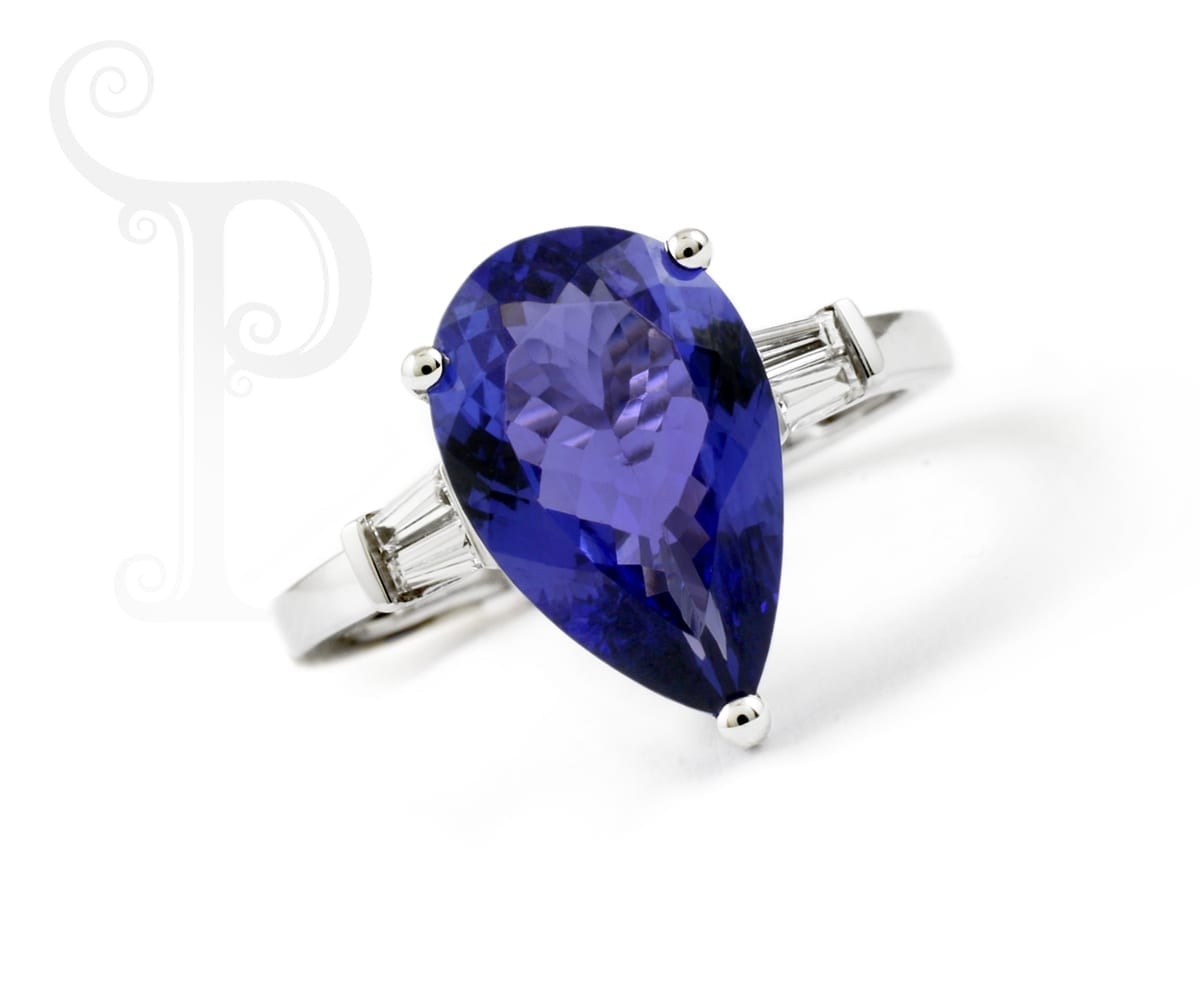 Tanzanite Pear Shape and Baguette Diamond Ring